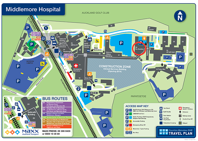 Floor map for Ko Awatea Centre